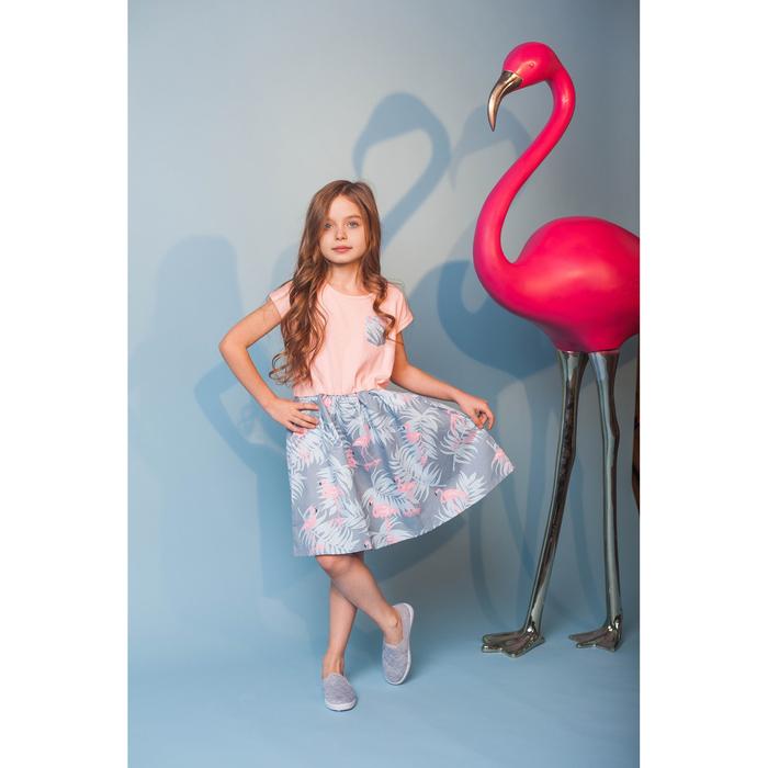 "Платье KAFTAN ""Фламинго"" рост 122-128, р.34, голубой/розовый"