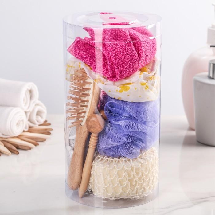 Набор банный в сумке, 9 предметов: 4 мочалки, щётка, пемза, шапочка, расческа, массажёр