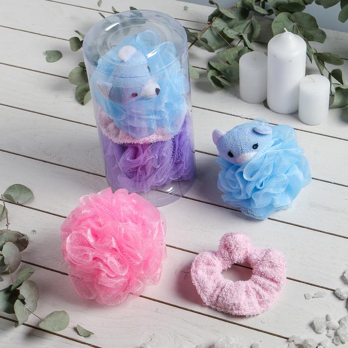 """Набор банный детский в тубе """"Мишка"""", 3 предмета: 2 мочалки, резинка для волос"""