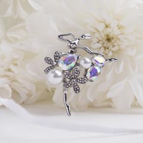 """Брошь """"Балерина"""" цветы и жемчужины, цвет радужный в серебре"""