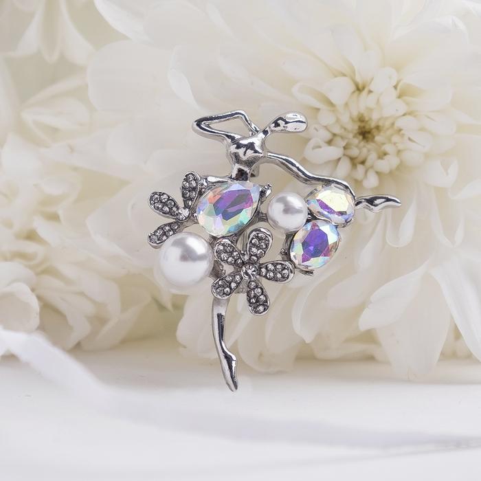 """Брошь спортивная """"Балерина"""" цветы и жемчужины, цвет радужный в серебре"""