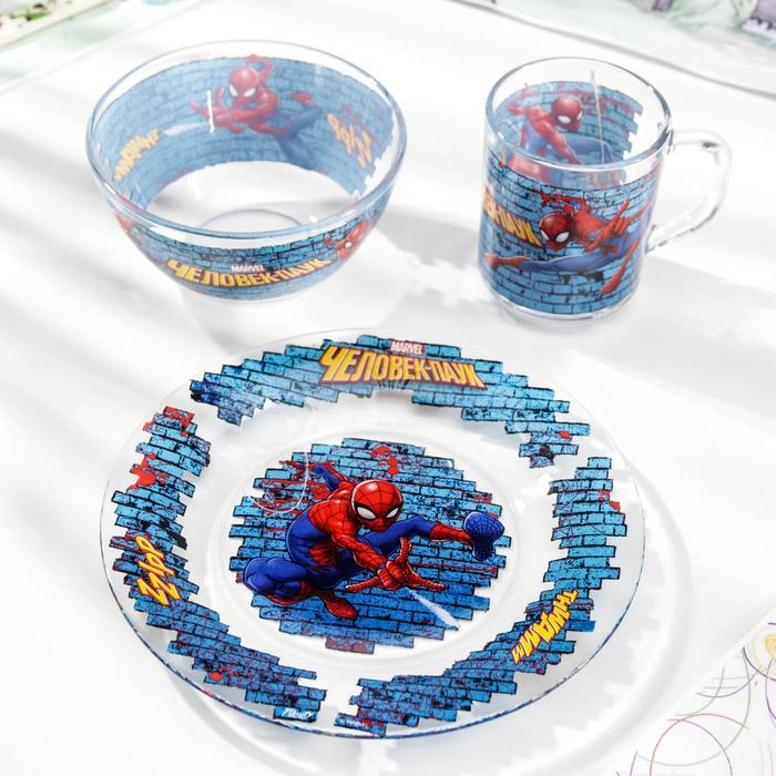"""Набор посуды детский """"Человек паук"""", 3 предмета"""
