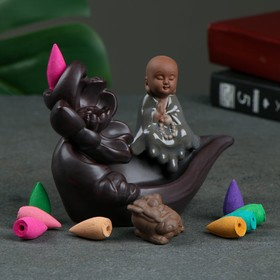 "Благовоние на подставке ""Лотос"", аромат лилии, 14 × 8 × 11 см"