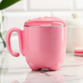Термокружка детская с крышкой, 200 мл, антикоррозийная, цвет розовый