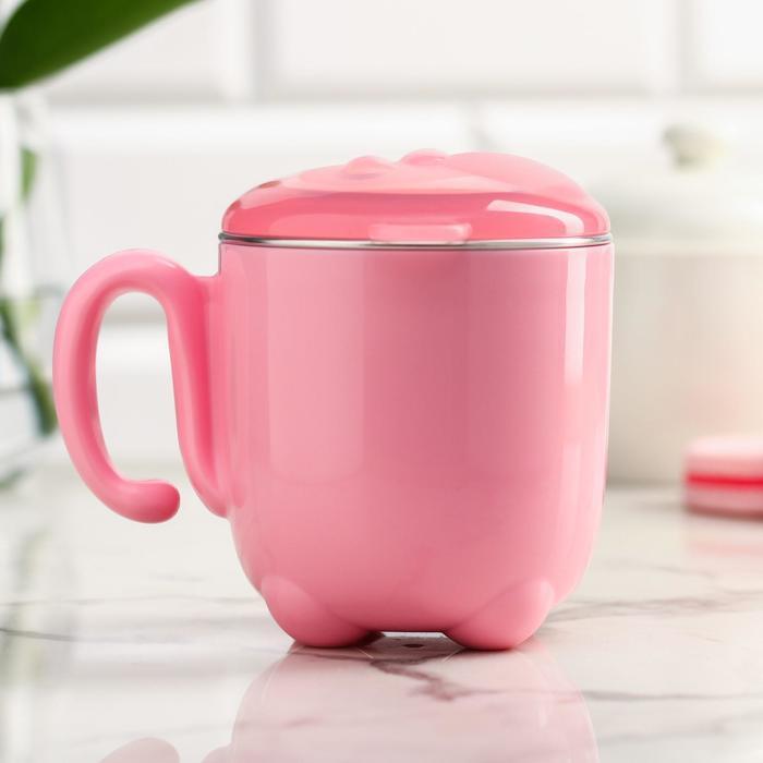 Кружка детская с крышкой, 200 мл, антикоррозийная, цвет розовый