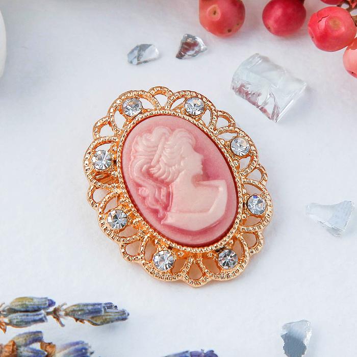 """Брошь """"Камея"""" петли, цвет розовый в золоте - фото 274886081"""