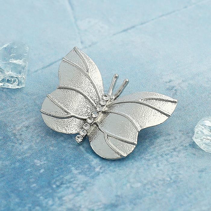 """Брошь """"Бабочка"""" с тиснением, цвет белый в серебре - фото 274889310"""