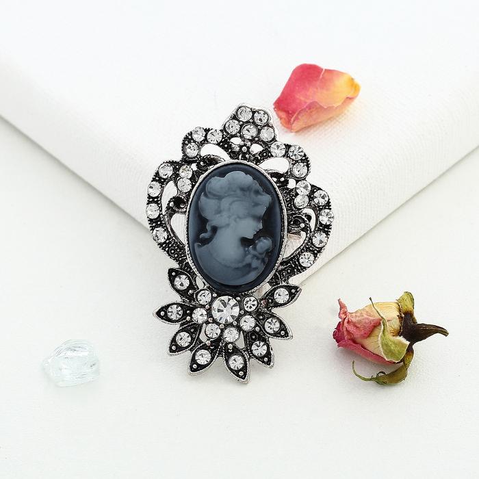 """Брошь """"Камея"""" цветы, цвет серый в черненом серебре"""