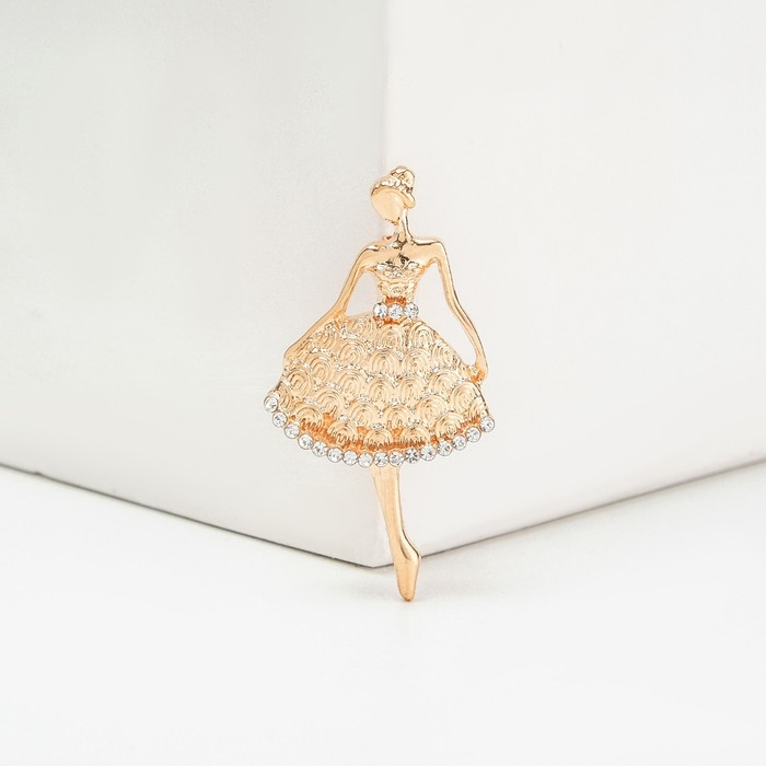 """Брошь """"Балерина"""" женственная, цвет белый в золоте"""