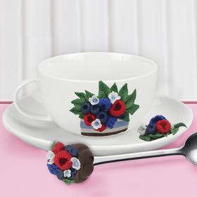"""Чайная пара с ложечкой, набор для декора полимерной глиной """"Ягоды"""""""