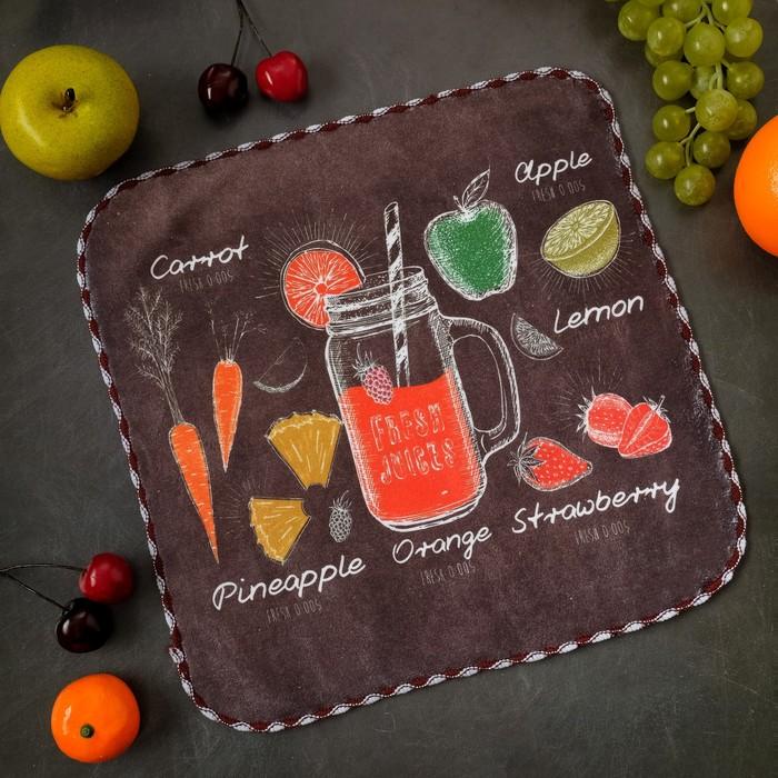 """Полотенце микрофибра Доляна """"Fresh juice"""" 30х30 см, п/э 200 гр/м2"""