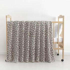 Плед «Сердечки» цвет серый 130×160 см, пл. 230 г/м², 100% п/э