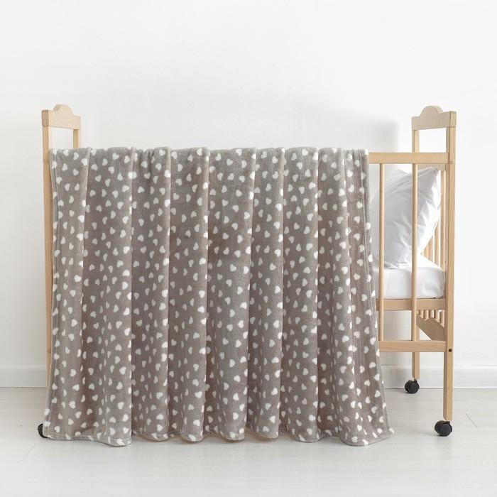 Плед «Сердечки» цвет серый 160×200 см, пл. 230 г/м², 100% п/э