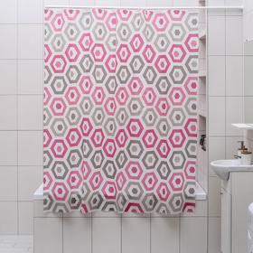 Штора для ванной комнаты Доляна «Шестигранник», 180×180 см, EVA