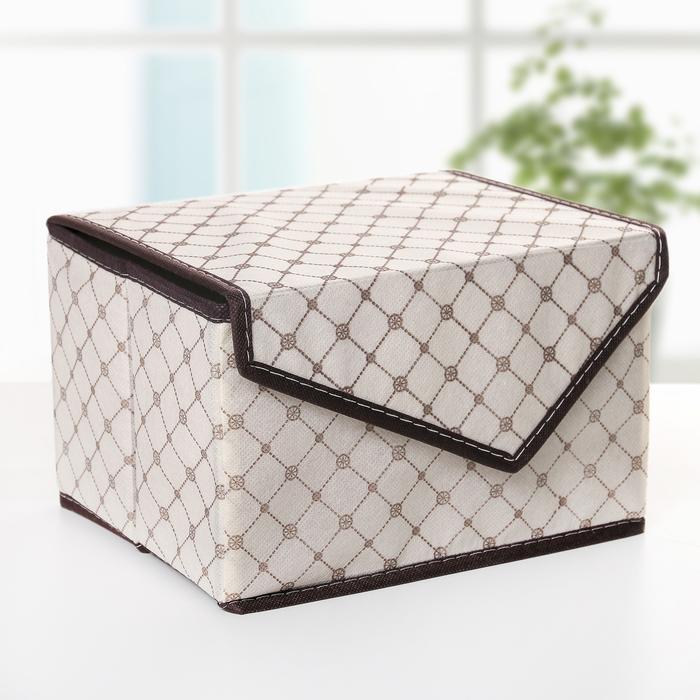 """Короб для хранения с крышкой 27×20×16 см """"Бежевая клетка"""", на магните"""