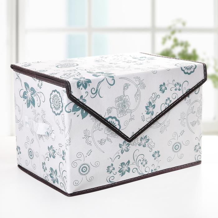 """Короб для хранения с крышкой 39×25×16 см """"Синие цветы"""", на магните - фото 163128163"""