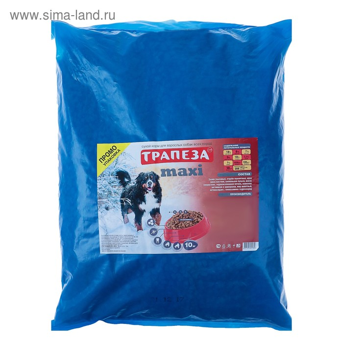 "Сухой корм ""Трапеза"" Макси для крупных собак, промо пакет, 10 кг"
