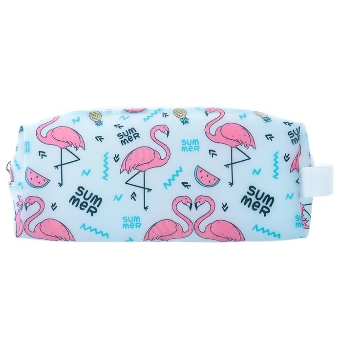 Пенал школьный «Фламинго/Лама», силикон, на молнии, МИКС - фото 545256470