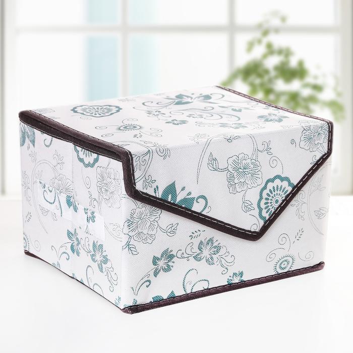 Короб для хранения с крышкой на магните «Синие цветы», 27×20×16 см - фото 308331992