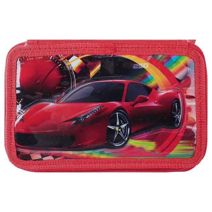 Пенал 3D «Машина», 3 отделения, на молнии, объёмный рисунок - фото 448840251