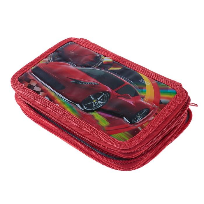 Пенал 3D «Машина», 3 отделения, на молнии, объёмный рисунок - фото 448840252