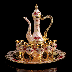 """Serving set """"Roses on white"""", 8 pieces: round tray, jug 0.25 l, glass 20 ml (6 PCs)"""
