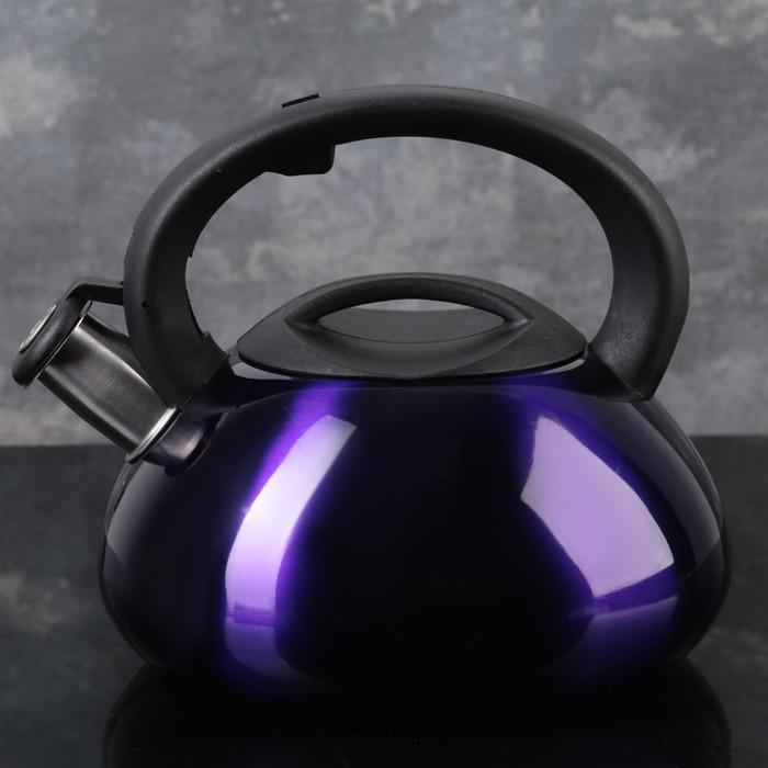 Чайник со свистком «Таун», 3 л, цвет фиолетовый - фото 721356