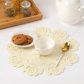 """Napkin decorative Dolyana""""Flowers"""" the color of milk,d 30 cm, 100% p/e, felt"""