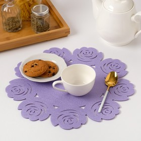 "Napkin decorative Dolyana""Flowers"" the color purple,ø 30 cm, 100% p/e, felt"