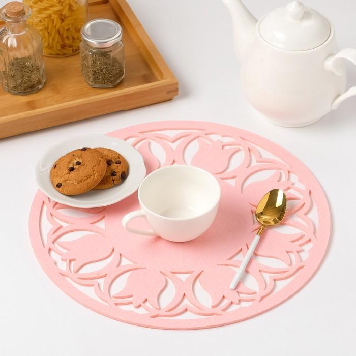 "Салфетка декоративная Доляна""Тюльпаны"" цвет розовый,d 30 см, 100% п/э, фетр"