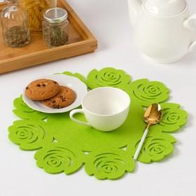 """Napkin decorative Dolyana""""Flowers"""" the color green,d 30 cm, 100% p/e, felt"""