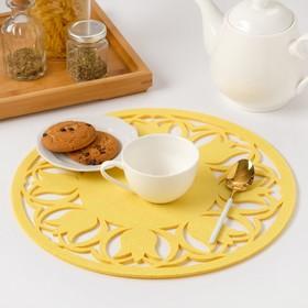 "Napkin decorative Share""Tulips"" color yellow,ø 30 cm, 100% p/e, felt"