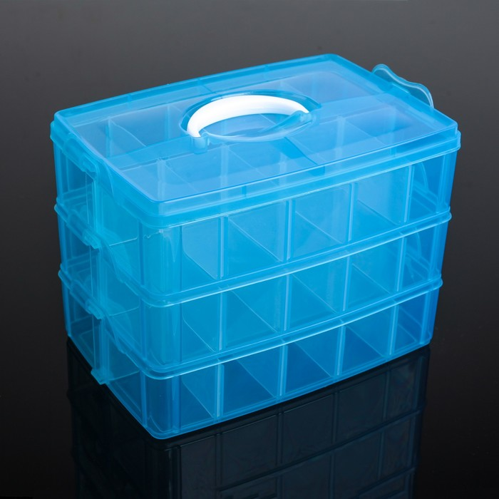 Бокс для хранения, 3 яруса, 30 отделений, 25×17×18 см, цвет МИКС