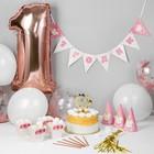 """Набор для оформления праздника """"1 годик дочке"""", воздуш.шары, гирлянда, топпер, колпачки, снек-боксы"""