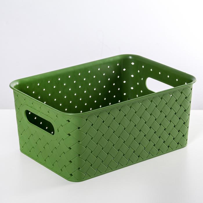 Корзинка «Береста», 3 л, цвет зелёный