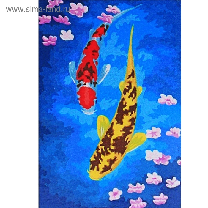"Роспись по холсту ""Рыбки"" по номерам с красками по 3 мл + кисти + инструкция + крепеж"