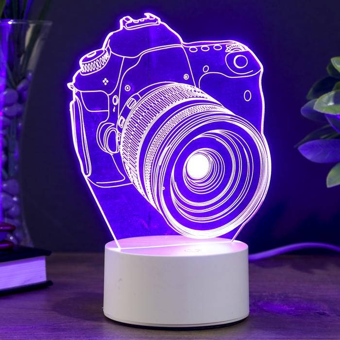 "Светильник ""Фотоаппарат"" LED RGB от сети 9,5х12х17см"