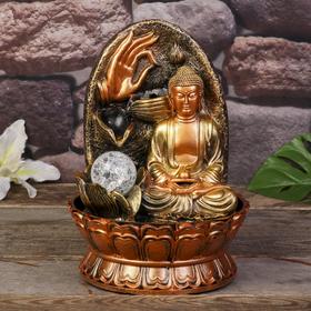 """Фонтан настольный от сети, подсветка """"Будда с жемчужиной"""" 28х19,5х19,5 см"""