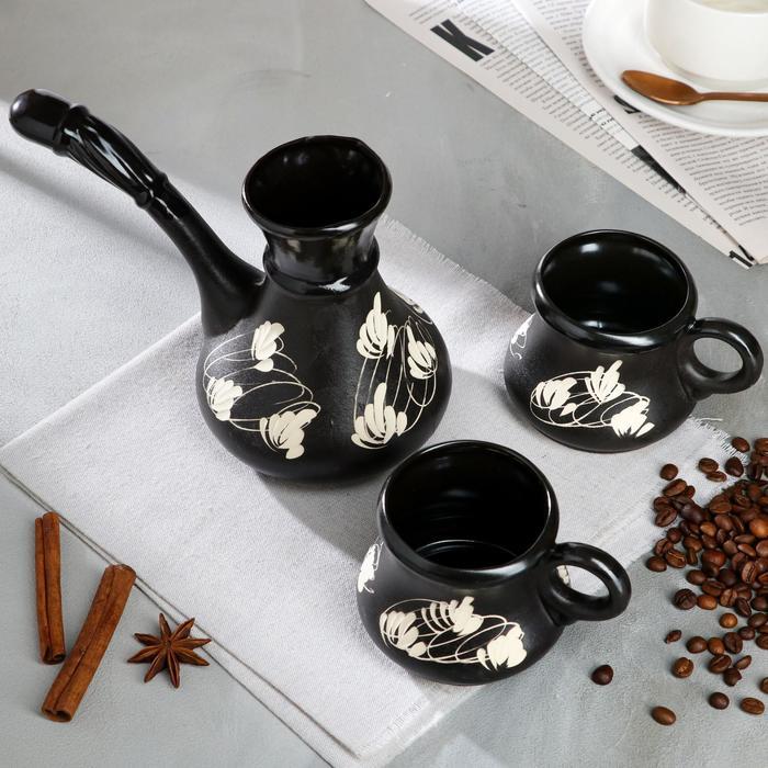 """Кофейный набор """"Узор"""", 3 предмета, чёрный, 0.5/0.2 л"""