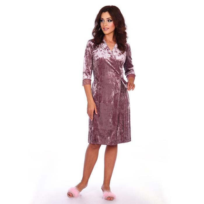 Халат запашной женский «Ангелина», цвет жемчужно-розовый, размер 56