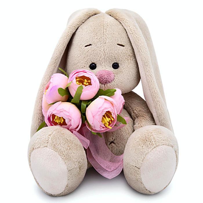 Мягкая игрушка «Зайка Ми» с букетом роз, 18 см