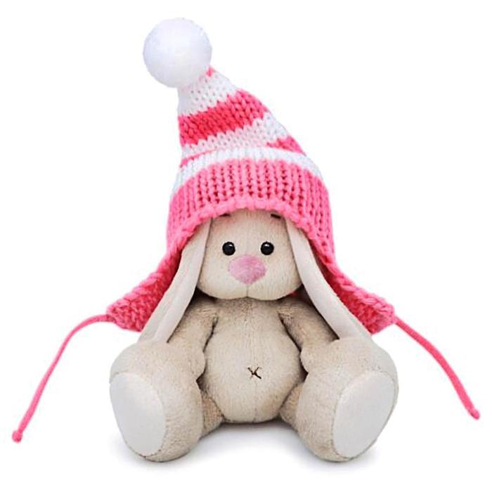 Мягкая игрушка «Зайка Ми» в полосатой розовой шапке, 15 см - фото 4467399