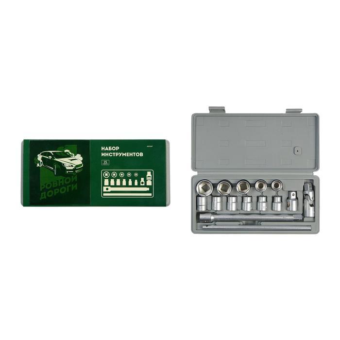 Набор инструментов в кейсе TUNDRA, подарочная упаковка, закаленная сталь, 15 предметов - фото 798163633