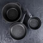 Набор кухонной посуды «Мраморная №3», 6 предметов, антипригарное покрытие, цвет тёмный мрамор - фото 721406