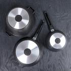 Набор кухонной посуды «Мраморная №3», 6 предметов, антипригарное покрытие, цвет тёмный мрамор - фото 721407