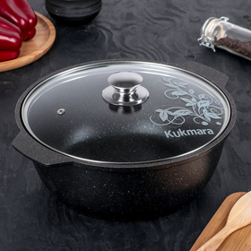 4-liter roasting pan with glass lid, non-stick coating, dark marble