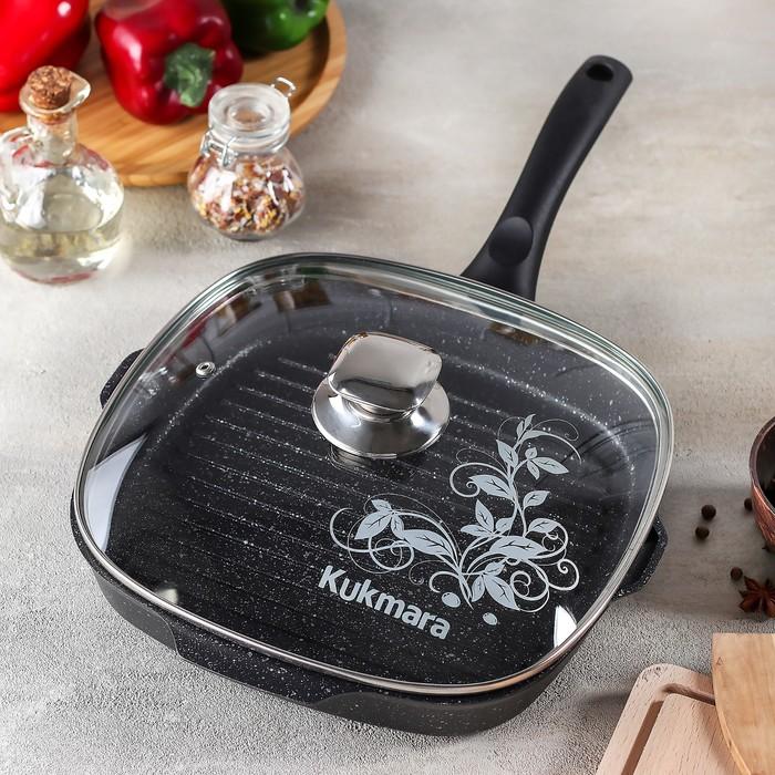 Сковорода-гриль квадратная, 26×26 см, стеклянная крышка, антипригарное покрытие, цвет тёмный мрамор