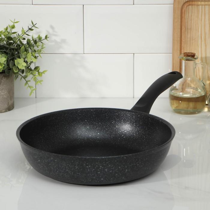 Сковорода с ручкой, d=26 см, антипригарное покрытие, цвет тёмный мрамор