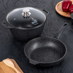 Marble set of cookware, non-stick coating, dark marble color