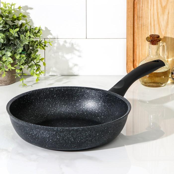 Сковорода 24 см, с ручкой, антипригарное покрытие, тёмный мрамор